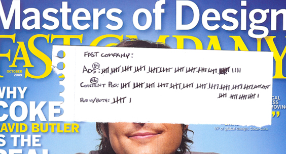 A scan of the most recent cover of Fast Company with a hand drawn tally of how many ads there are versus how much content.